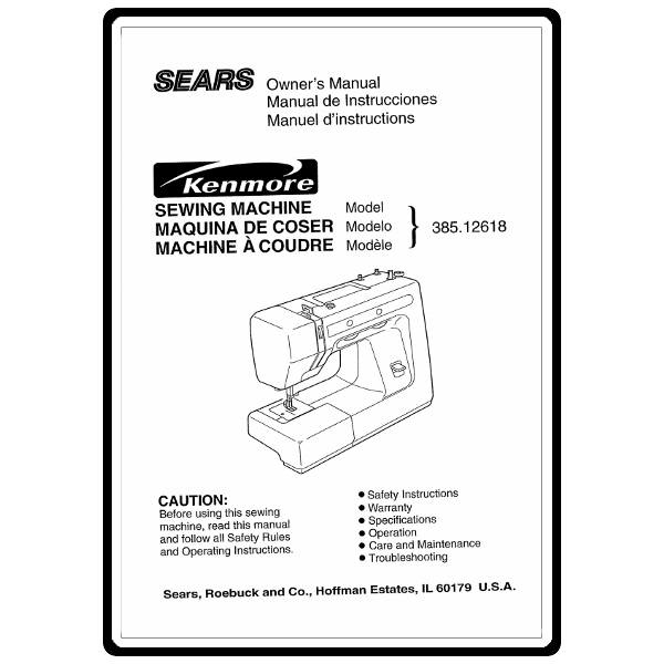 Instruction Manual, Kenmore 385.12618 Models : Sewing