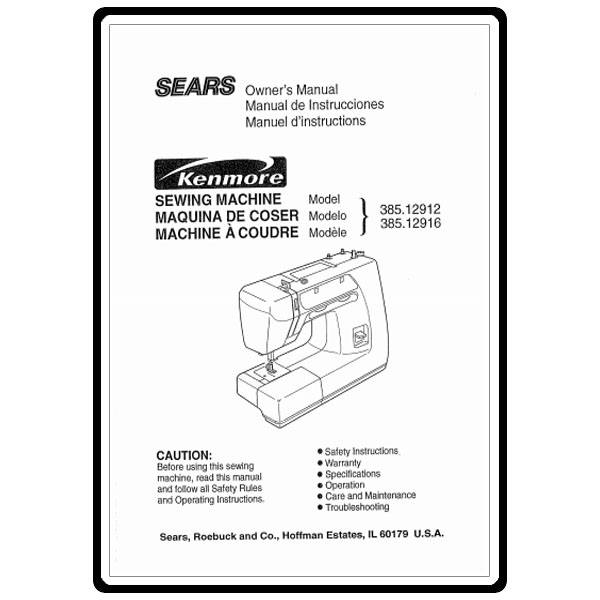Instruction Manual, Kenmore 385.12916 Models : Sewing