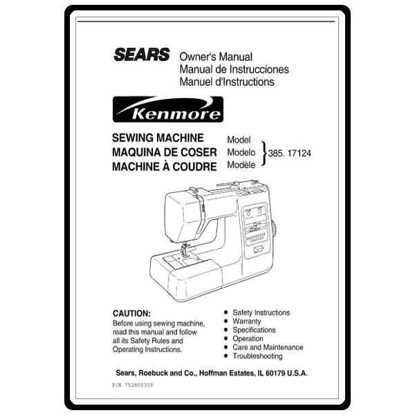 Instruction Manual, Kenmore 385.17124 Models: Sewing Parts