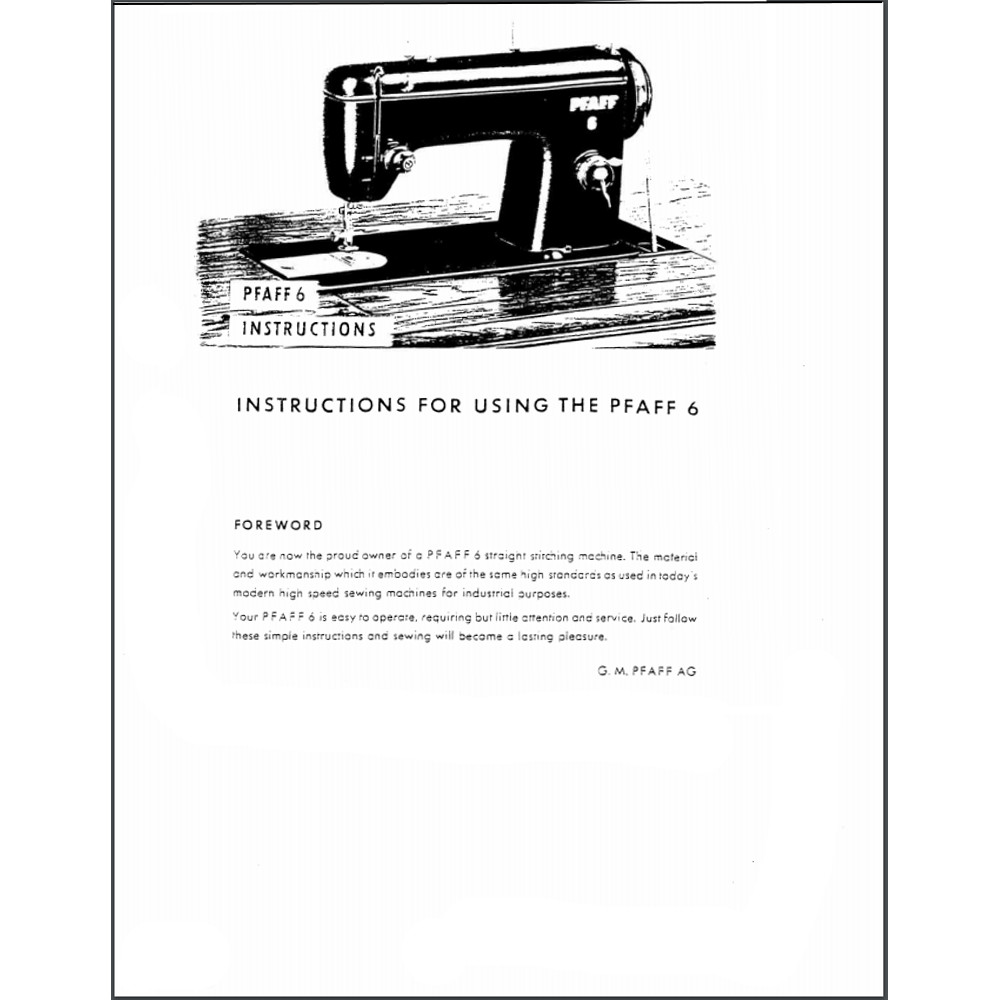 Instruction Manual, Pfaff 6 : Sewing Parts Online