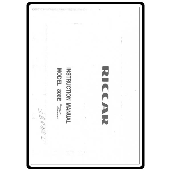Instruction Manual, Riccar 808E : Sewing Parts Online
