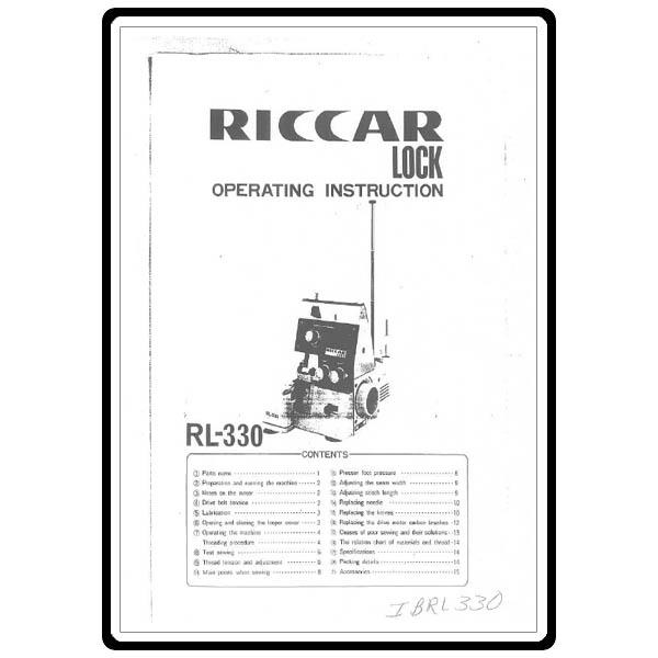 Instruction Manual, Riccar RL330 : Sewing Parts Online