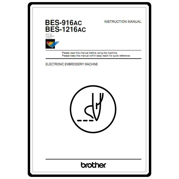 Instruction Manual, Brother BES-1216AC : Sewing Parts Online