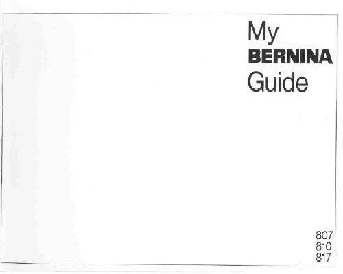 Bernina Sewing Machine Manuals