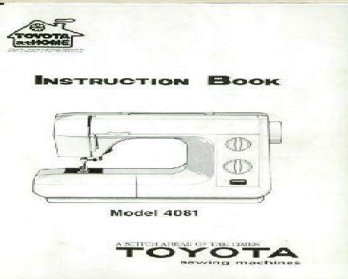 Toyota 4081 Sewing Machine Manual