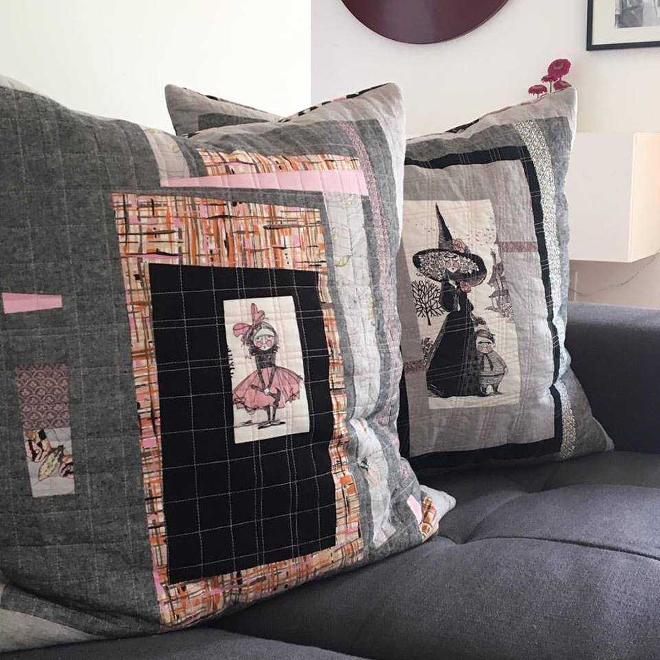 sew katie did   Seattle Modern Quilting & Sewing Studio   log cabin improv pillows