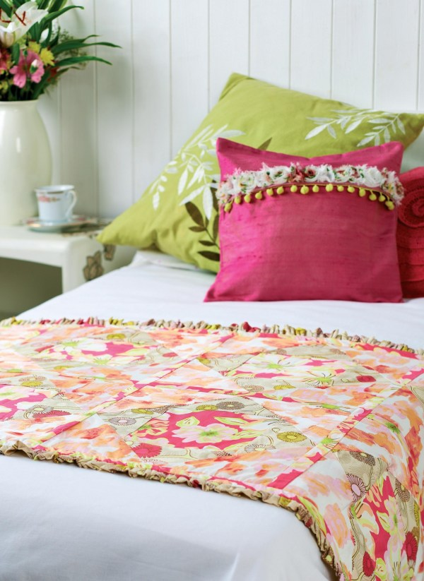 Art Fabric Quilted Bed Runner - Free Sewing