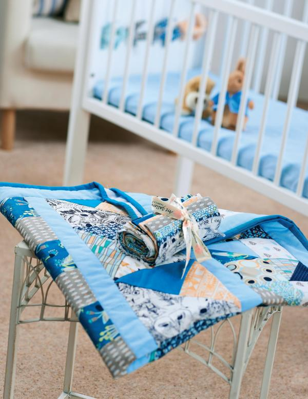 Art Fabric Indian Summer Baby Quilt - Free Sewing