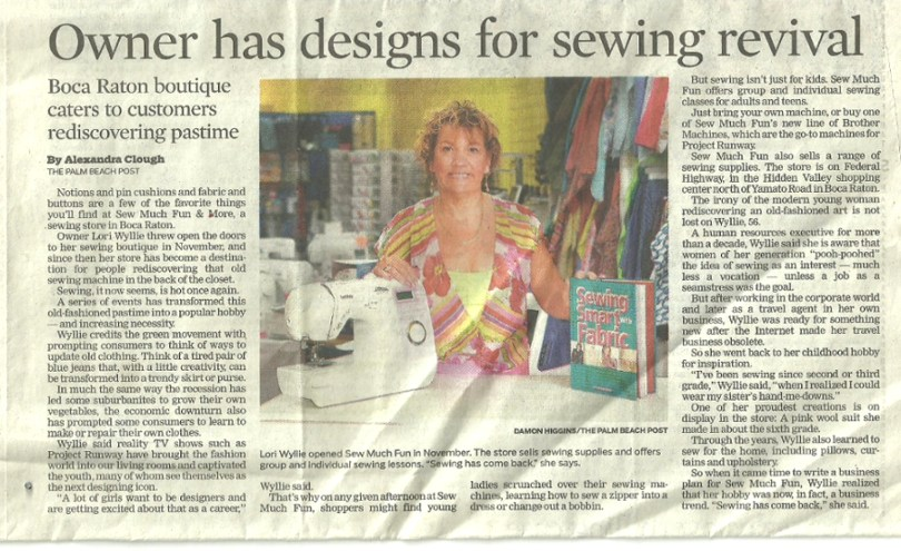 The Sun Sentinel article for Sew Much Fun, where South Florida Customers are Number One!