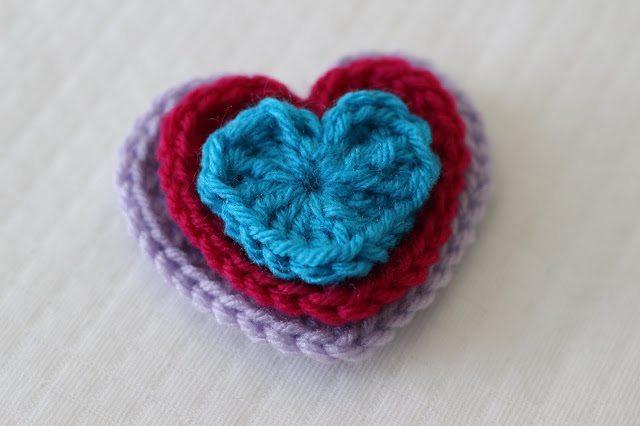 Easy Crochet Hearts 3 Sizes Sewrella