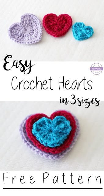 Easy Crochet Hearts 3 Sizes Sewrella