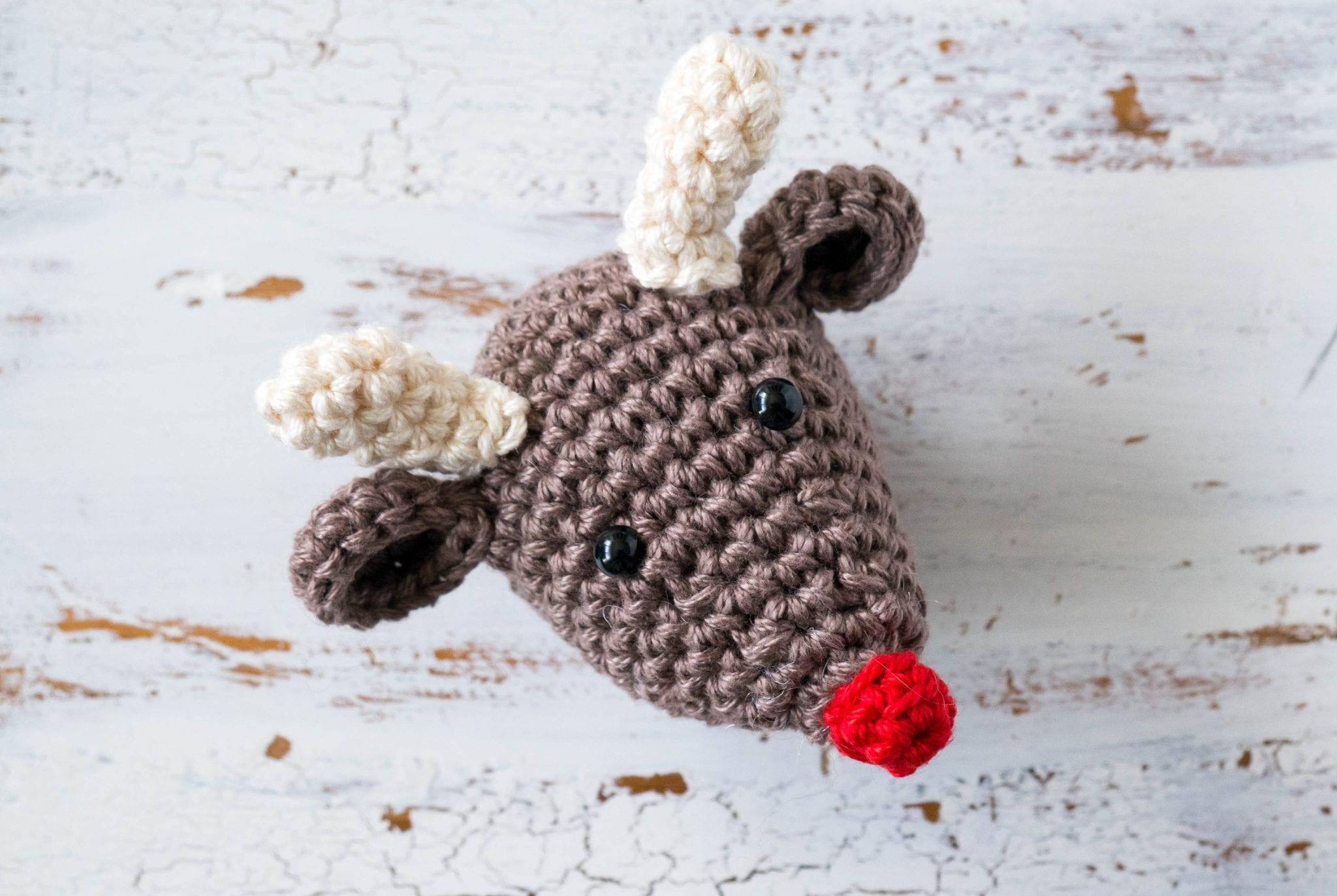 Crochet Rudolf the Rednosed Reindeer Christmas Ornament - Sewrella