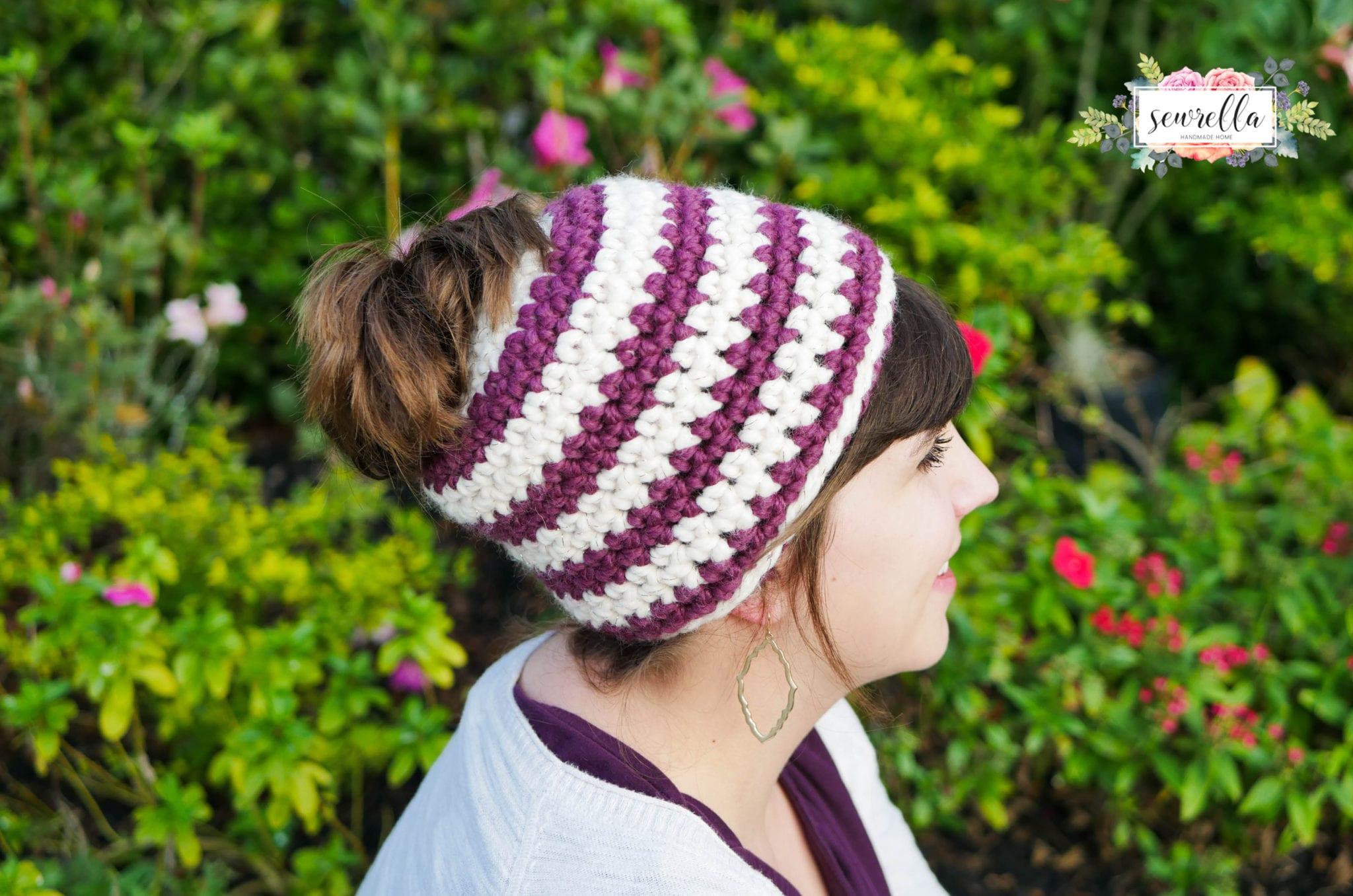 573a1b22f4c Crochet 1 hour Messy Bun Beanie - Sewrella
