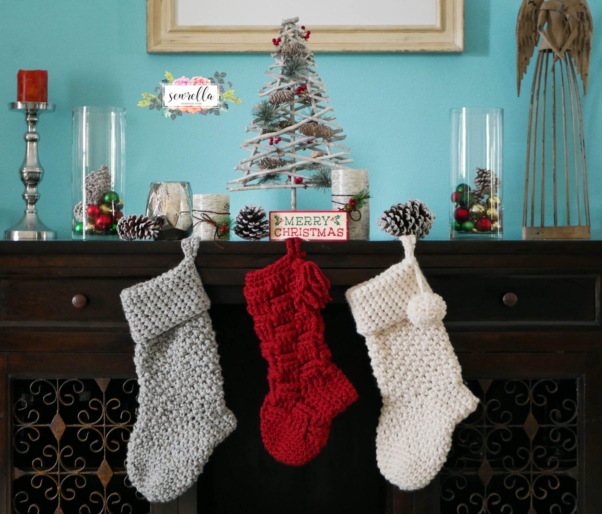 Crochet Christmas Stocking Pattern.Jumbo Crochet Christmas Stockings Sewrella