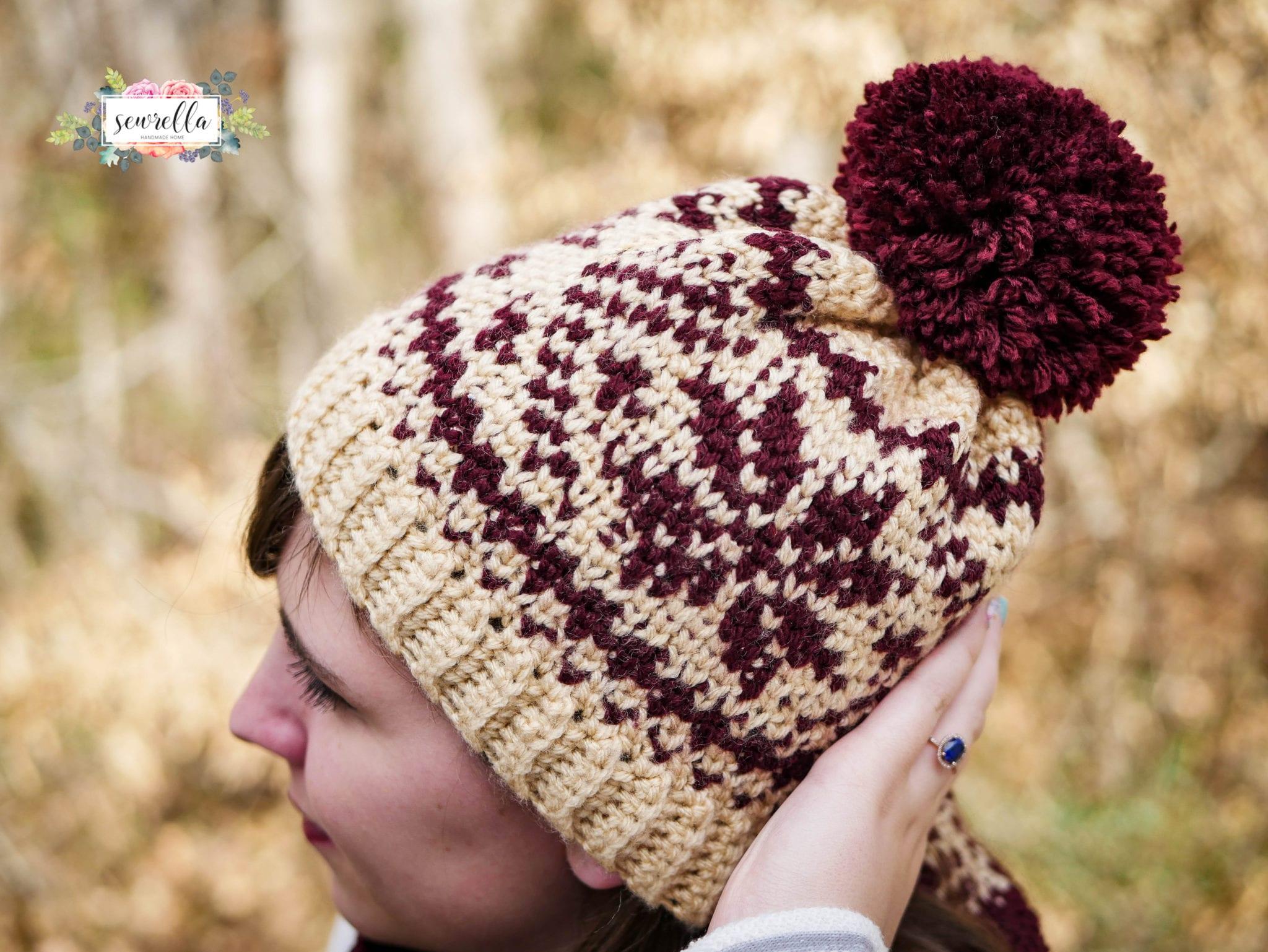 Knitting Or Crocheting Faster : Faux knit fair isle crochet toque cowl sewrella