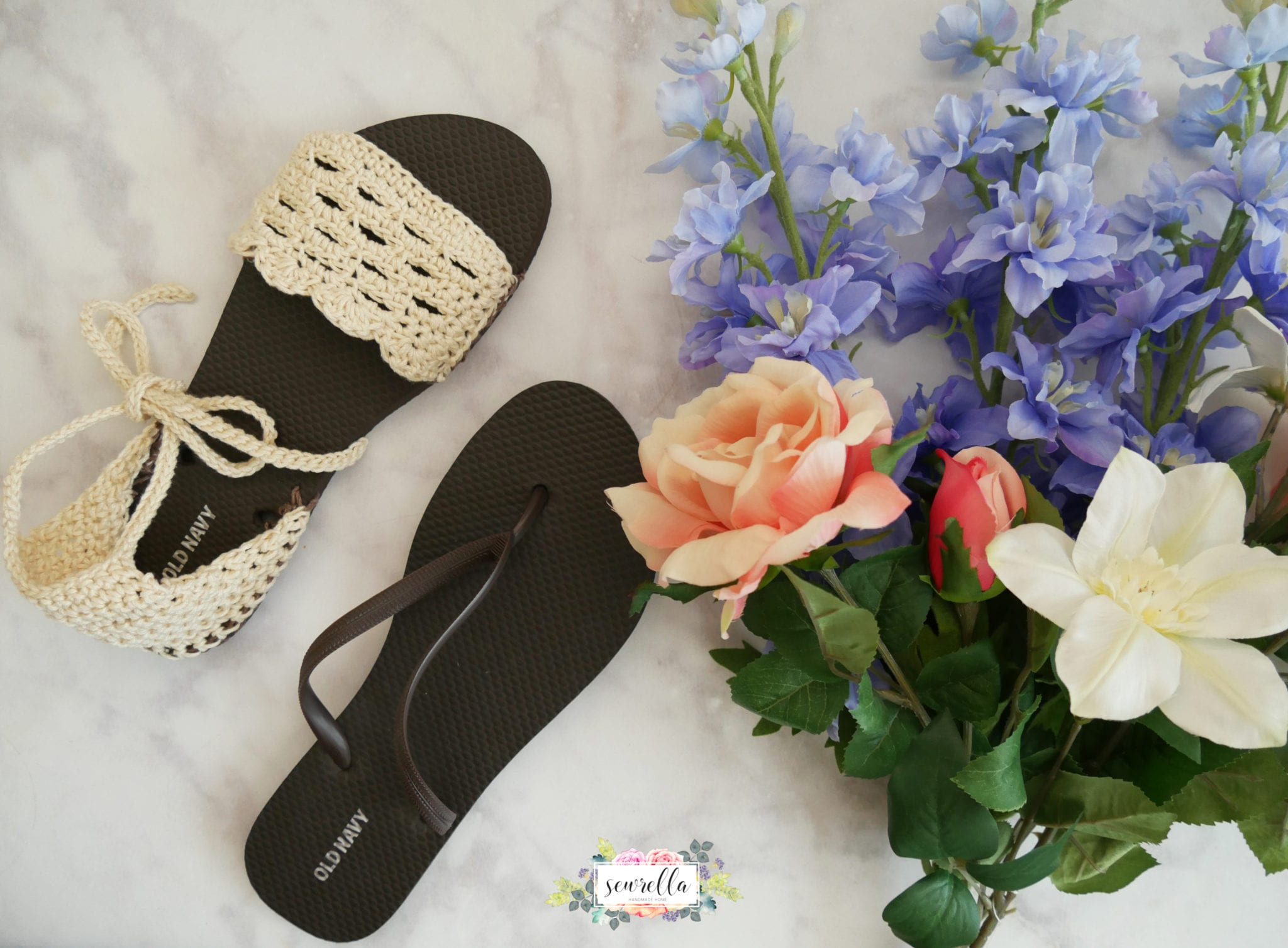 5115bf44423aec Crochet Sandals with Flip Flop Soles - Sewrella