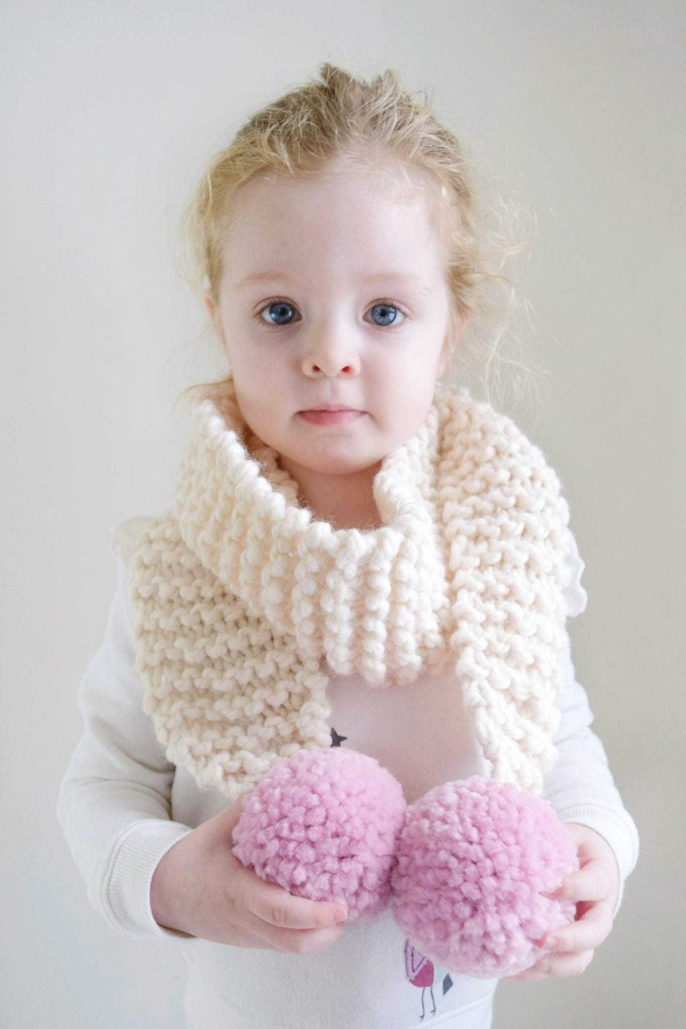 Knit Pom Pom Scarf Pattern - for Kiddos (with Destiny!) - Sewrella