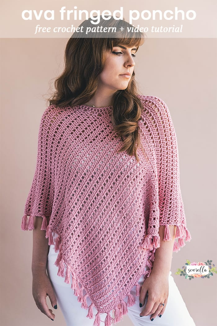 Crochet Ava Fringed Poncho Sewrella