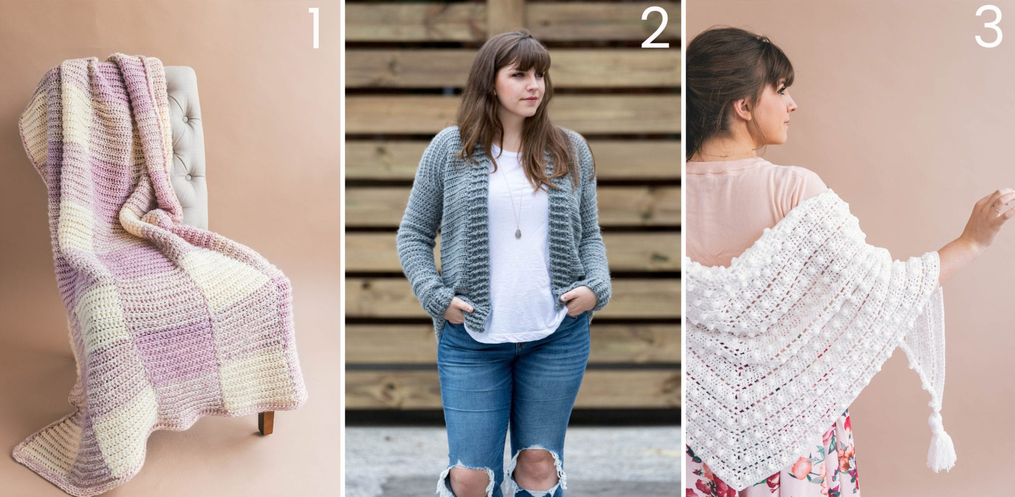 4acd08fba1f88 Crochet Homemaker Gingham Throw   2. Crochet Everyday Cardigan   3. Crochet  Le Nuage Wrap Triangle Scarf