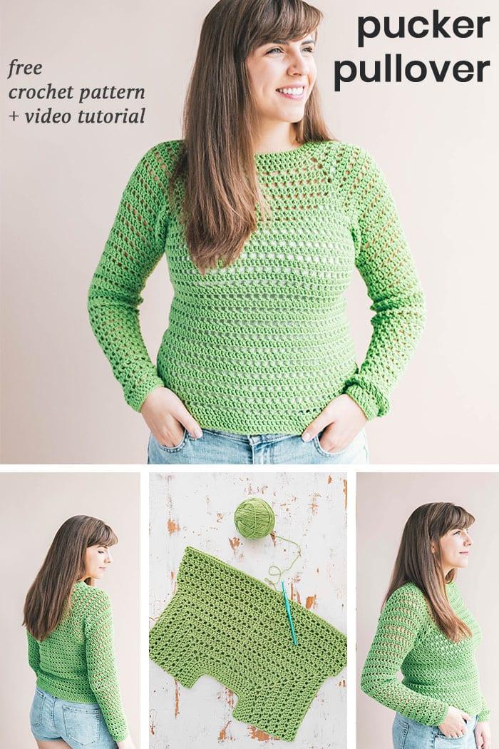 Crochet Pucker Pullover Sweater Sewrella
