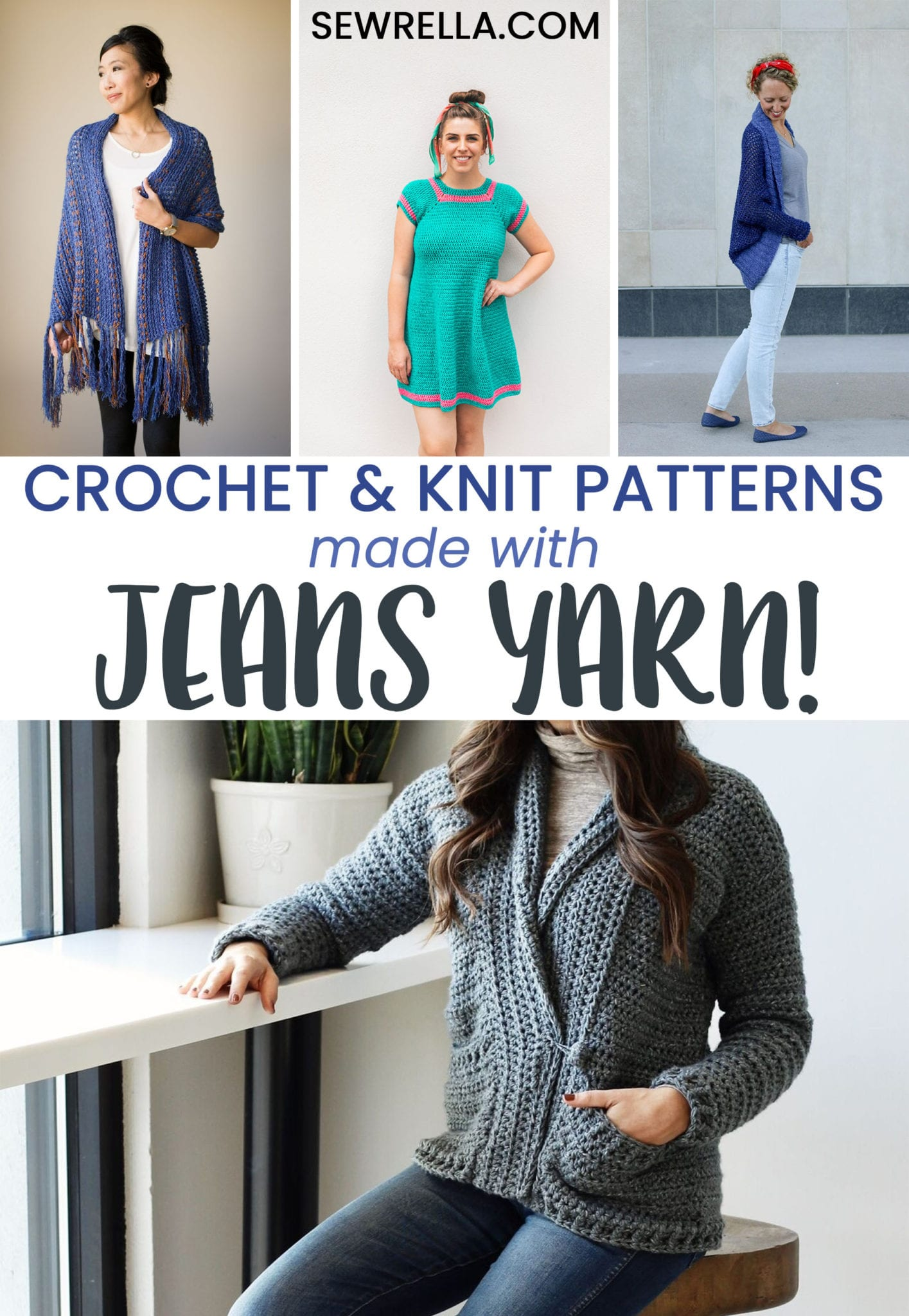 9aa714624 The Best Crochet   Knit Patterns made with Jeans Yarn! - Sewrella