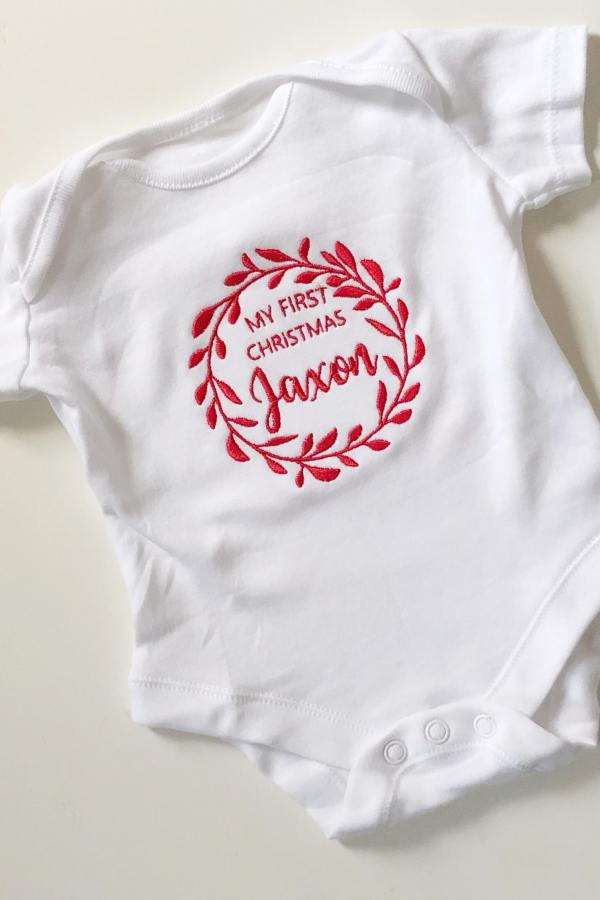 Personalised My First Christmas Wreath Vest – www.sewsian.com