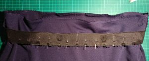 Waistband Elastic Pinned into Place, with Serged Seam between Skirt and Waistband