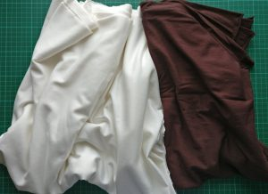 Cream and brown knit fabric
