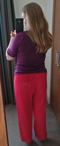 Red pyjamas, back view See & Sew 5704