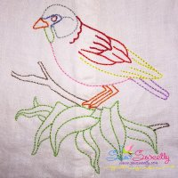 Colorful Vintage Bird-6 Machine Embroidery Design