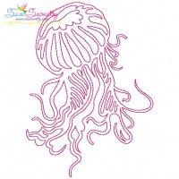 One Line Vintage Redwork Stitch Jellyfish Machine ...