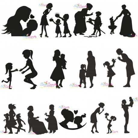 Mother's Day Silhouette Embroidery Design Bundle For