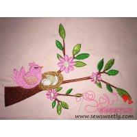 Bird On Branch-3 Mavhine Embroidery Design