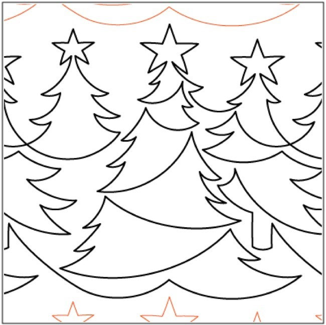 Christmas Forest quilting pantograph pattern by Lorien