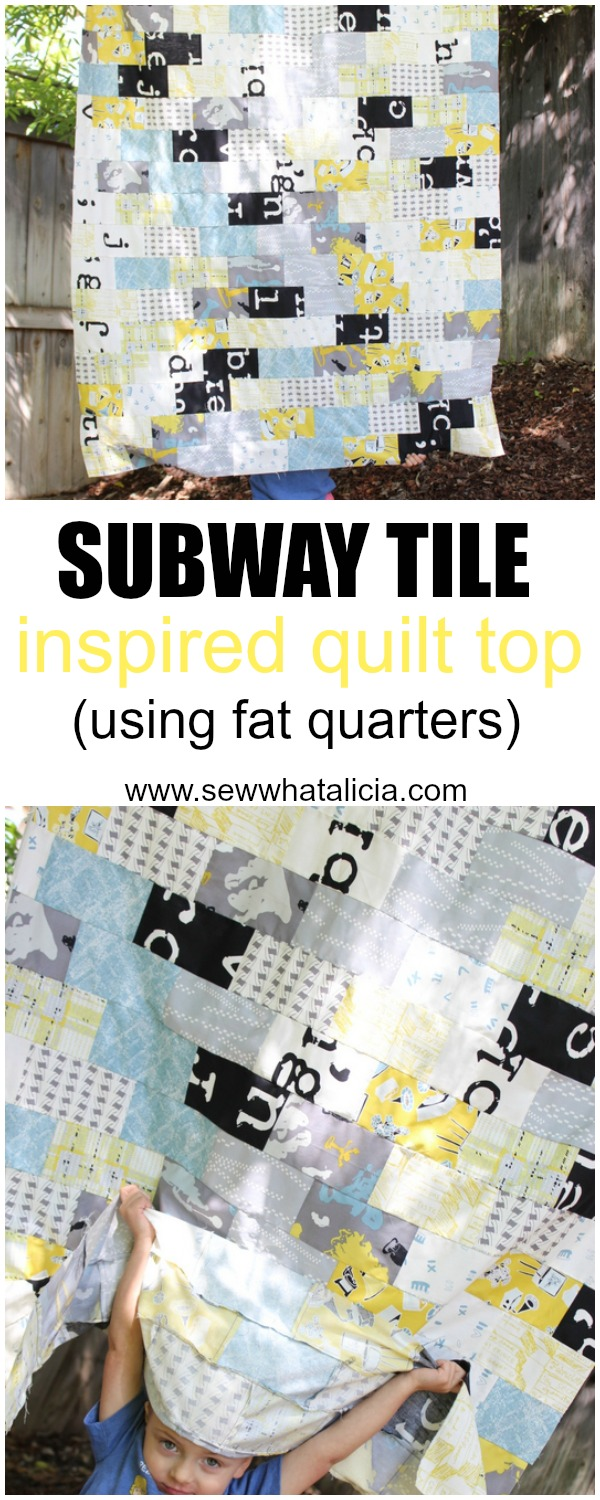 Subway Tile Inspired Quilt (using fat quarters) | www.sewwhatalicia.com