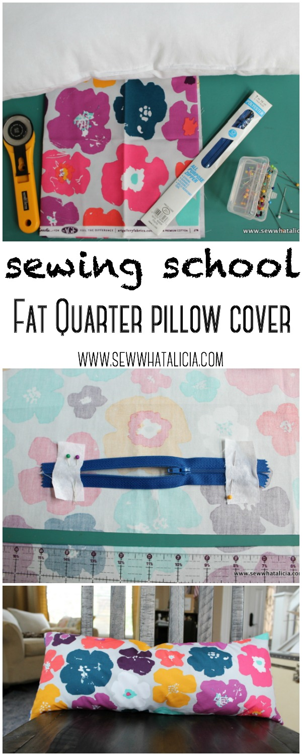 Book Cover Sewing Quarter : Fat quarter pillow cover sewing school sew what alicia