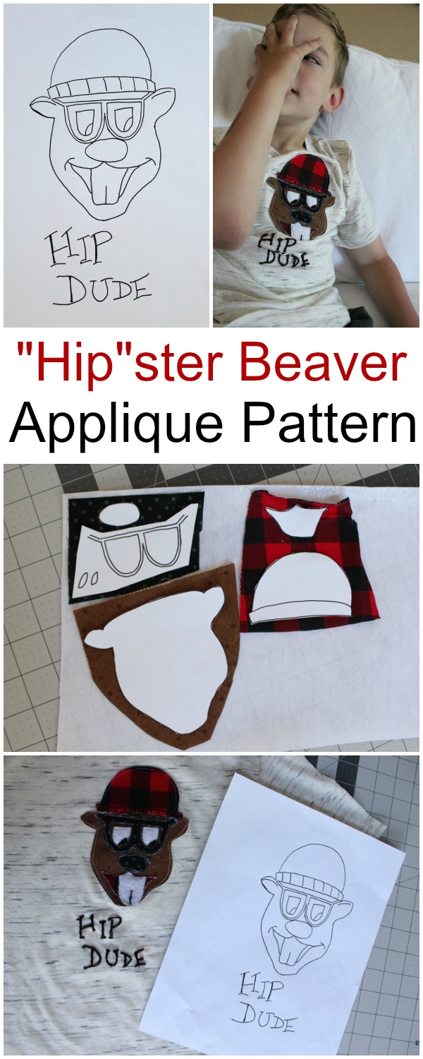 Hipster Beaver Applique Pattern | www.sewwhatalicia.com