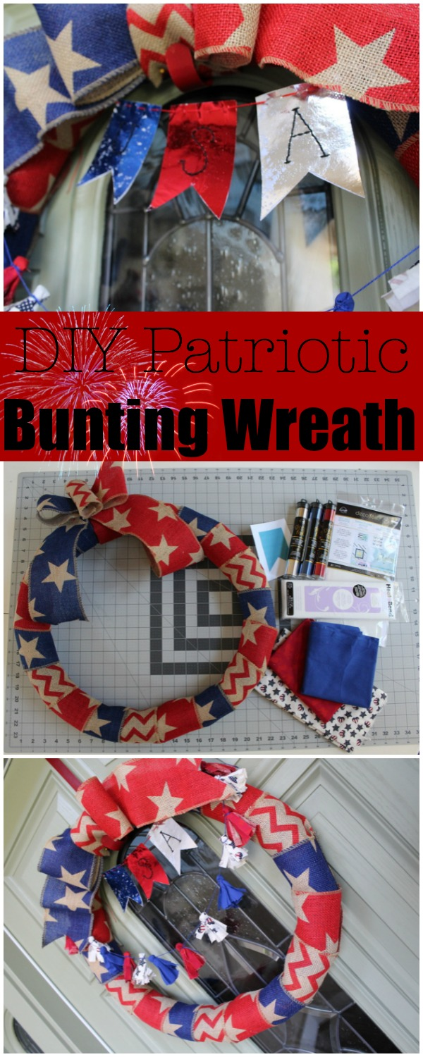 Patriotic Wreath with Fabric and Foil Bunting | www.sewwhatalicia.com