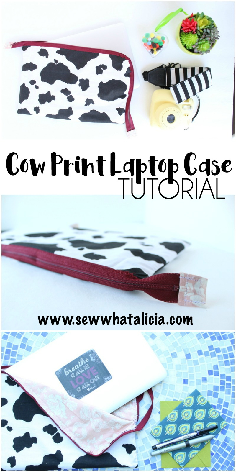 Cow Print Laptop Case | www.sewwhatalicia.com