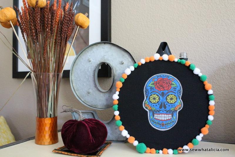 Halloween Door Decoration - Embroidery Hoop Skull | www.sewwhatalicia.com