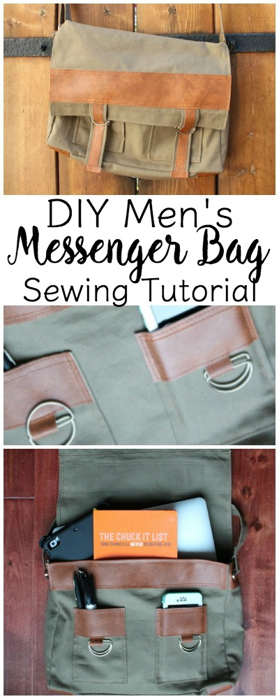 Men's Messenger Bag Sewing Tutorial | This is a great handmade gift for the guy in your life! It can be hard to think of handmade gifts for the fellas in your life! Click through for the tutorial for this men's bag. www.sewwhatalicia.com