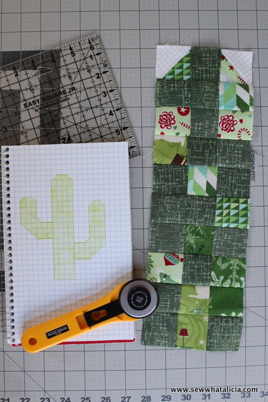 """How to make a Christmas cactus wall hanging tutorial: This wall hanging uses half square triangles to """"draw"""" a cactus. This is a great sewing tutorial for anyone new to quilting. Click through for the full tutorial. 