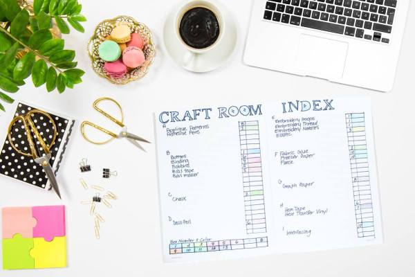 Create a Craft Room Index with a Bullet Journal: If you have a crazy amount of craft supplies like I do then this is the perfect post for you! Get all your supplies organized and remember where you put them with this craft room index tutorial. Click through for the tutorial and a free printable| www.sewwhatalicia.com