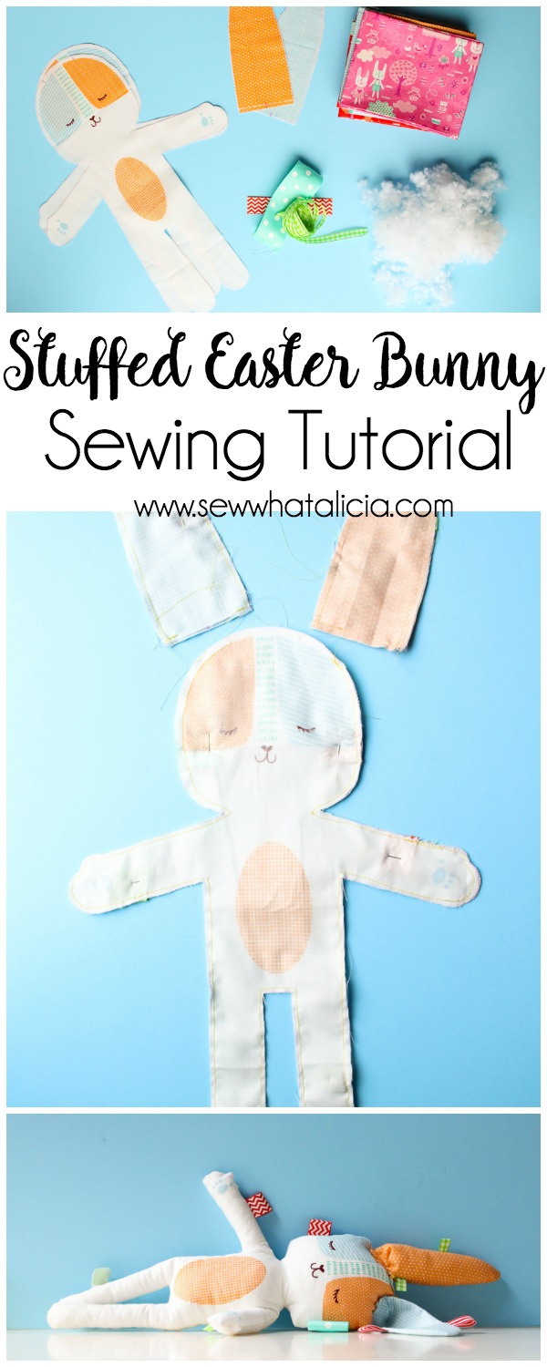 Stuffed Easter Bunny Tutorial: This cute panel from Moda makes it quick and easy to make a stuffed Easter bunny. Click through for the full tutorial and for some fun tips and additions to the bunny!   www.sewwhatalicia.com