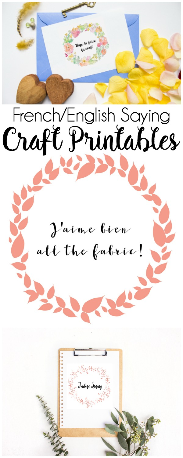 Printable Embroidery Hoop Art: These fun French/English sayings are in a beautiful wreath for you to frame with your embroidery hoop. These embroidery hoop art printables are so fun and perfect for a hoop gallery wall.   www.sewwhatalicia.com