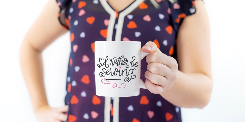 "Hand Lettered ""I'd Rather be Sewing"" Free Cut File.  Create a DIY Coffee Mug with your Silhouette or Cricut Machine and this free cut file!"