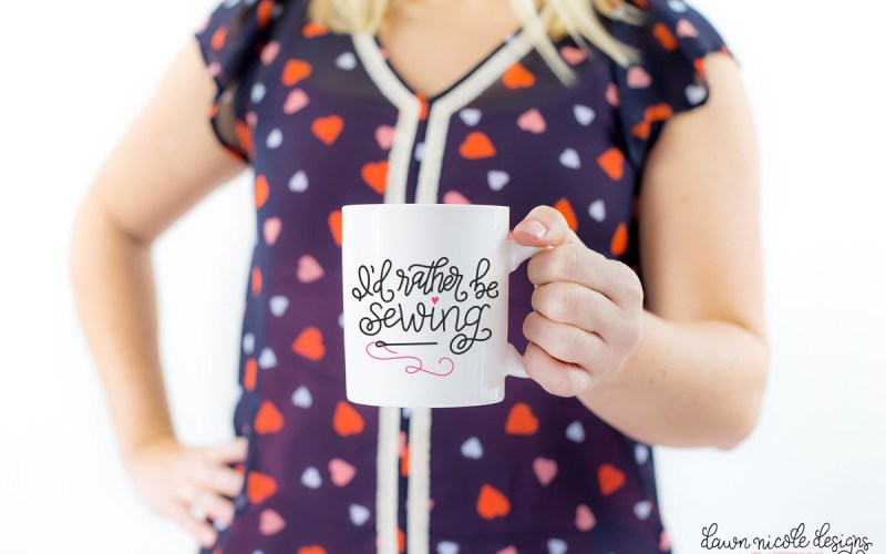"Hand Lettered ""I'd Rather be Sewing"" Free Cut File"