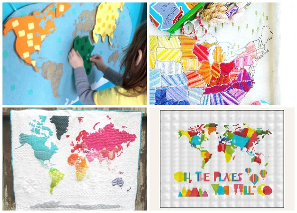 10+ Marvelous Map Projects to Stitch