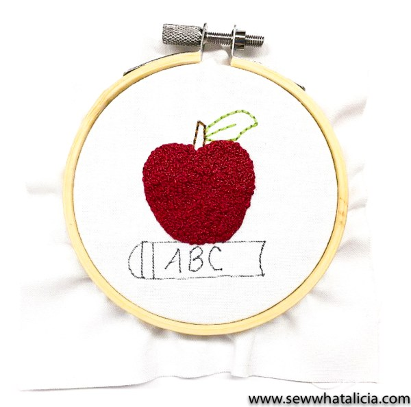 How to Embroider a French Knot: This fun back to school ABC apple is the perfect project to learn how to embroider french knots. Click through for the tutorial and free pattern.   www.sewwhatalicia.com