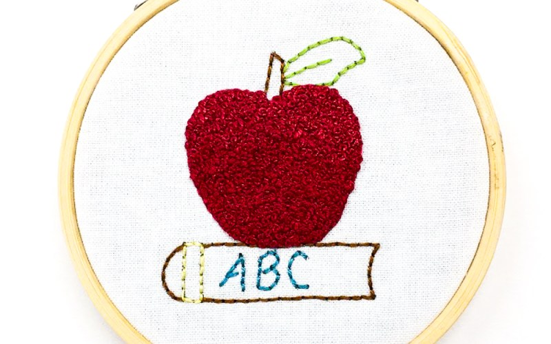 How to Embroider a French Knot – Back to School Apple
